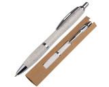 Kugelschreiber aus Weizenstroh mit silbernen Applikationen