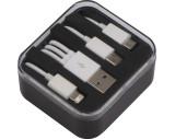 Kunststoffbox mit 3 in 1 USB-Ladekabel